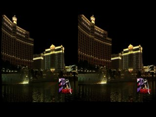 3D Bellagio Fountains in Las Vegas (Side by Side) HD качество 720p (стереопара)